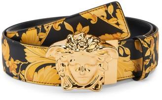 Versace Reversible Medusa Baroque-Print Leather Belt