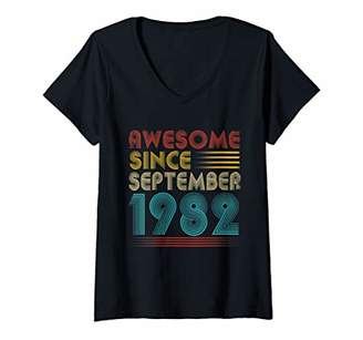 Womens Awesome Since September 1982 37th Birthday Gift Vintage V-Neck T-Shirt