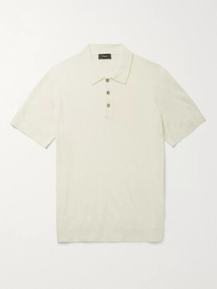Theory Linen-Blend Polo Shirt - Men - White