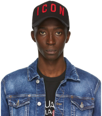 DSQUARED2 Black and Red Icon Baseball Cap