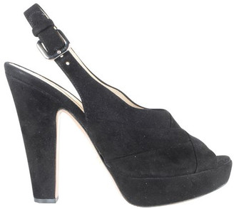 Prada Black Suede Peep Toe Slingback Pumps Size 36