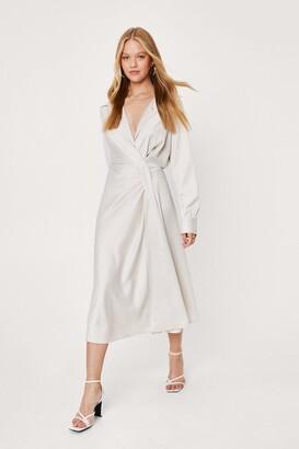 Nasty Gal Womens Wrap Front Satin Maxi Shirt Dress - Cream - 6