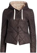 Brunello Cucinelli Quilted Hooded Peplum Jacket