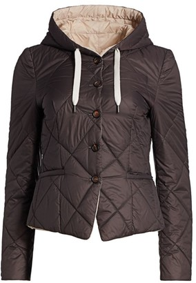 Brunello Cucinelli Quilted Hooded Peplum Jacket