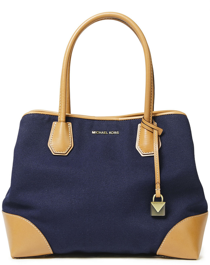 MICHAEL Michael Kors Crosby Leather-trimmed Cotton-canvas Tote