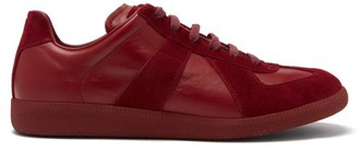Maison Margiela Replica Suede-panel Leather Trainers - Burgundy