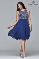 Faviana 9410 Short chiffon dress with jeweled bodice