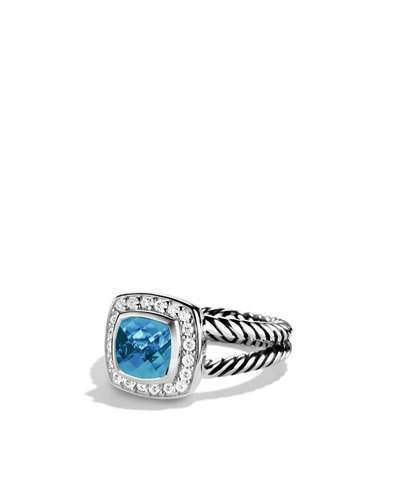 David Yurman Petite Albion Ring with Blue Topaz and Diamonds
