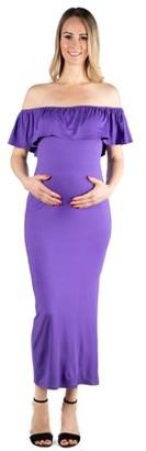 24/7 Comfort Apparel 24seven Comfort Apparel Ruffle Off The Shoulder Maternity Maxi Dress