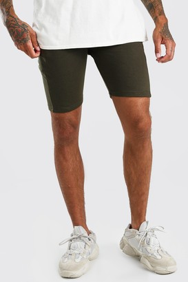 boohoo Mens Green Basic Mid Length Jersey Short, Green