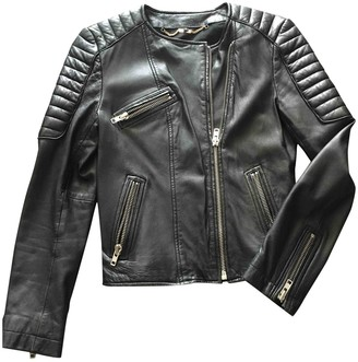 Sud Express Black Leather Leather Jacket for Women