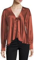 Cinq à Sept Clothing Lentz Tie-Front Long-Sleeve Silk Satin Blouse