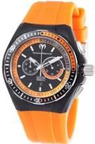 Technomarine Men's Quartz Watch with Black Dial Chronograph Display and Orange Silicone Strap 110020