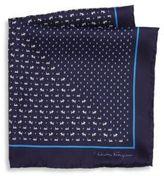 Salvatore Ferragamo Dog Pattern Silk Pocket Square