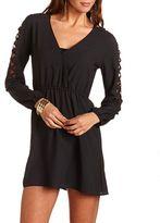 Charlotte Russe Lattice Sleeve Surplice Dress
