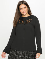 ELOQUII Plus Size Studio Pleated Button Down with Lace Bib