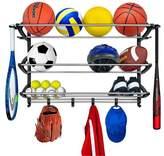 Lynk Sports Rack with Adjustable Hooks - Sports Gear Storage - Black/Silver