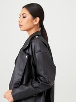 In The Style X Stephsa Oversized Faux Leather Jacket - Black
