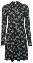 Dorothy Perkins Womens Black Floral Print Shirred Dress, Black