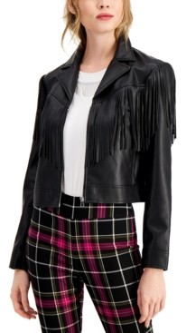 Bar III Faux-Leather Notched-Collar Fringe-Trimmed Jacket, Created for Macy's