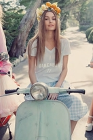 Wildfox Couture I Camembert It Easy V Neck Tee in Light Blue Iris