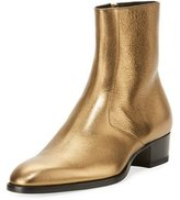 Saint Laurent Wyatt 40mm Men's Metallic Leather Ankle Boot, Gold