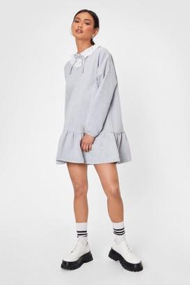 Nasty Gal Womens Collar Me Maybe Petite Sweatshirt Dress - Grey - 4