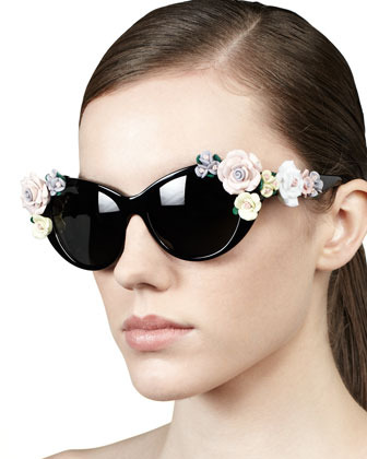 D&G Roses Cat-Eye Sunglasses, Black