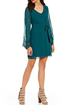 I.N. San Francisco Lace Trim Bell Sleeve Sheath Dress