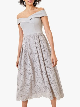 Oasis Lace Skirt Bardot Midi Dress, Pale Grey