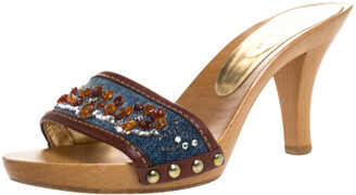 Dolce & Gabbana Blue/Brown Denim And Leather Trim Embellished Slide Sandals Size 36