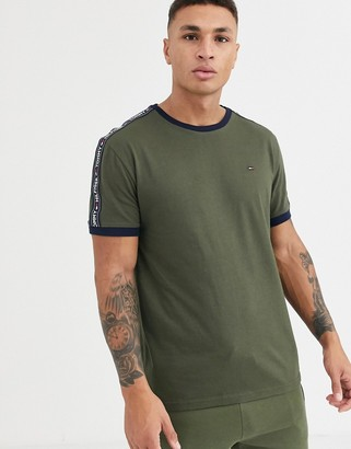 Tommy Hilfiger lounge t-shirt in olive with logo side stripe-Green
