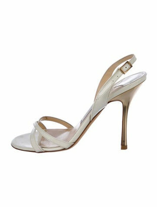 Jimmy Choo Patent Leather Slingback Sandals Gold