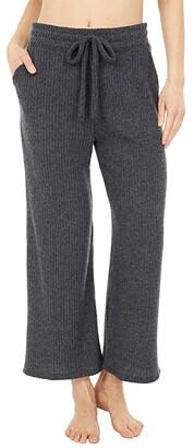 Beyond Yoga Waffle Knit Wide Leg High Waisted Cropped Sweatpants (Charcoal) Women's Casual Pants