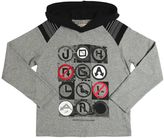 John Galliano Signs Print Cotton Jersey Hooded T-Shirt