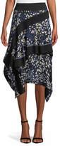 3.1 Phillip Lim Layered Painted-Dot Silk Midi Skirt w/ Rib Details