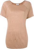 Frame curved hem T-shirt - women - Linen/Flax - S