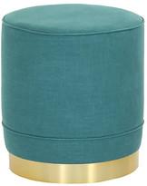 Kim Salmela Piper Stool - Teal Linen frame, brass; upholstery, teal