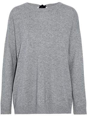 Chinti and Parker Tie-Back Velvet-Trimmed Wool And Cashmere-Blend Sweater