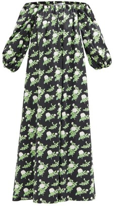 BERNADETTE Bobby Off-the-shoulder Floral-print Cotton Dress - Black Print