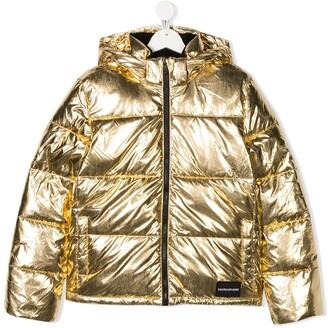 Calvin Klein Kids TEEN metallic puffer jacket