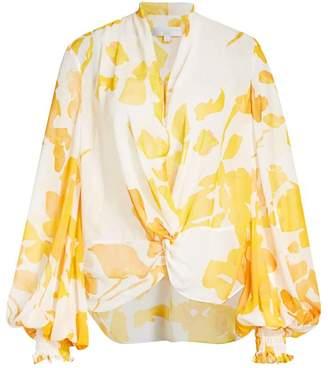 Caroline Constas Bette Floral Blouson-Sleeve Blouse