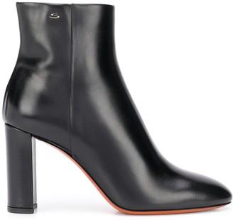 Santoni Leather Heeled Ankle Boots