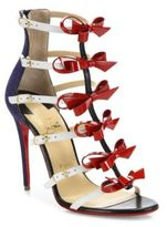Christian Louboutin Girlistrappi Denim & Leather Bow Sandals