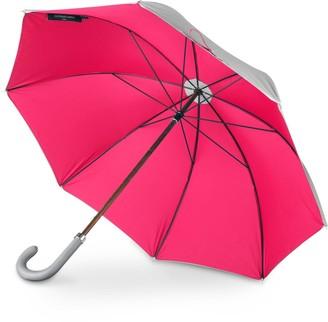 British Umbrella Wood & Leather Grey/Pink