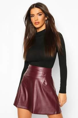 boohoo Leather Look A Line Mini Skirt