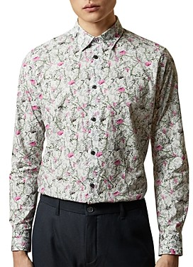 Ted Baker Toobig Floral Print Slim Fit Button-Down Shirt