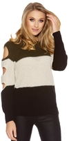Quiz Black And Khaki Cut Out Sleeve Jumper