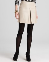 DKNY DKNYC Leather Pleat Front Mini Skirt