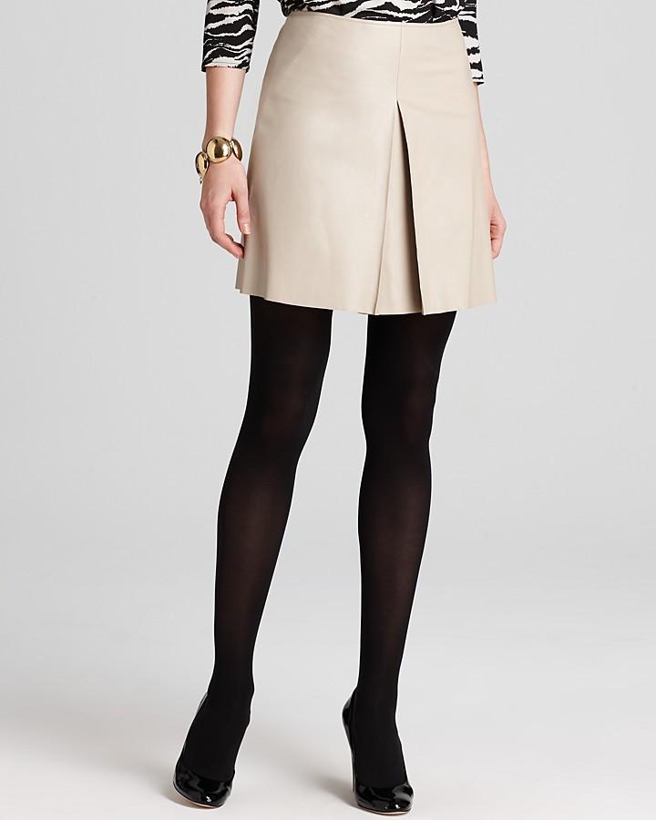 DKNY DKNYC Leather Pleat Front Mini Skirt